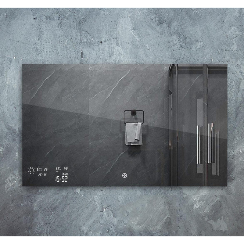 Chytré infra topné zrcadlo 80x60cm 250W s LED osvětlením 12W